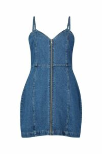 Womens Zip Front Strappy Denim Dress - blue - 14, Blue