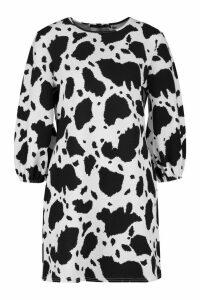 Womens Balloon Sleeve Cheetah Print Shift Dress - white - 8, White