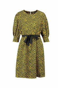 Womens Dalmatian Print Puff Shoulder Skater Dress - yellow - S, Yellow