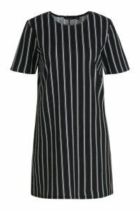 Womens Mono Stripe Shift Dress - black - 16, Black