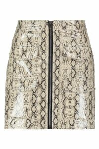 Womens Snake Print Leather Look A Line Mini Skirt - beige - 16, Beige