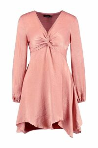 Womens Hammered Satin Blouson Sleeve Skater Dress - pink - 12, Pink