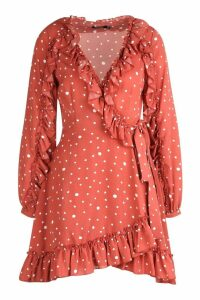 Womens Ruffle Detail Polka Dot Tea Dress - beige - 14, Beige
