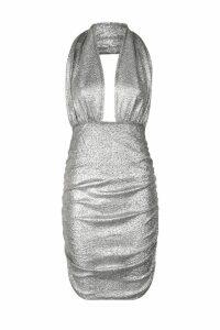 Womens Metallic Plunge Halter Mini Bodycon Dress - grey - 8, Grey