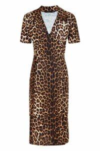 Womens Leopard Print Side Split Shirt Dress - multi - 16, Multi