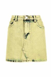 Womens Mustard Acid Wash Denim Skirt - yellow - 6, Yellow