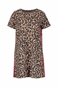 Womens Leopard Print Contrast Panel Shift Dress - red - 12, Red