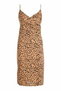 Womens Animal Print Wrap Midi Dress - brown - 14, Brown