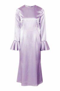 Womens Satin Flared Sleeve Midi Dress - blue - 10, Blue