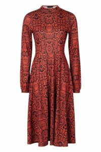 Womens High Neck Long Sleeve Snake Print Midi Dress - orange - 10, Orange