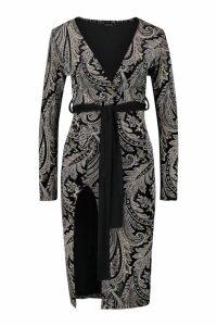 Womens Foiled Velvet Paisley Kimono Sleeve Midi Dress - black - 10, Black