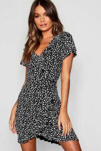 Womens Dalmatian Print Ruffle Tea Dress - black - 16, Black