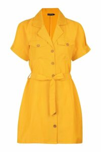Womens Utility Pocket Button Through Belted Dress - yellow - 14, Yellow