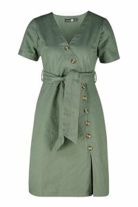 Womens Mock Horn Button Twill Midi Dress - green - 10, Green