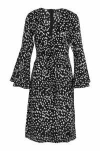 Womens Knot Front Cheetah Print Midi Dress - black - 8, Black