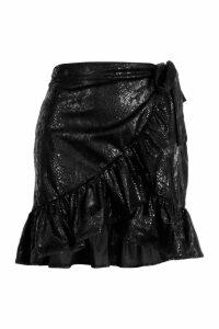 Womens Snake Print Faux Leather Ruffle Wrap Mini Skirt - black - XS, Black
