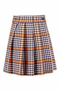 Womens Dogtooth Pleated Wrap Mini Skirt - orange - 10, Orange