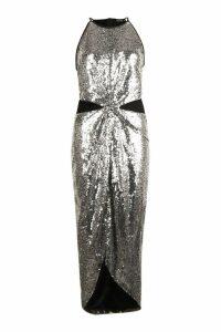 Womens Sequin Twist Front Midi Dress - grey - 6, Grey