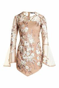 Womens Embroidered Flared Sleeve Bodycon Dress - Beige - 8, Beige