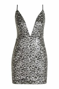 Womens Animal Sequin Strappy Bodycon Dress - metallics - 14, Metallics