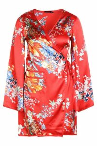 Womens Piped Oriental Satin Wrap Mini Dress - red - 8, Red