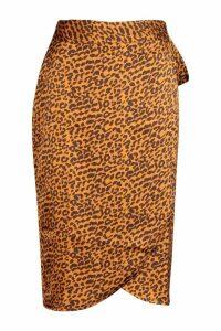Womens Leopard Satin Wrap Midi Skirt - yellow - 14, Yellow