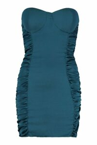 Womens Satin Ruched Bandeau Bodycon Dress - green - 6, Green