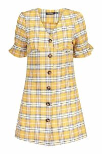 Womens Check Horn Button Shift Dress - yellow - 10, Yellow