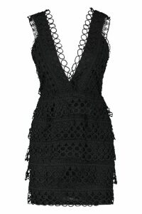 Womens Lace Plunge Neck Panelled Bodycon Dress - black - 8, Black