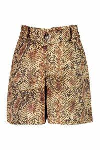 Womens Satin Snakeskin Button City Shorts - orange - 8, Orange