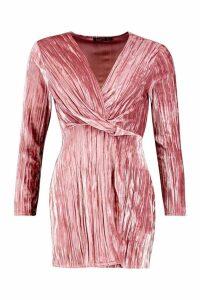 Womens Velvet Twist Front Mini Dress - pink - 8, Pink