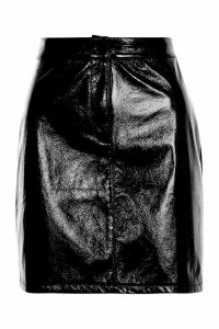 Womens Vinyl A Line Mini Skirt - black - 6, Black