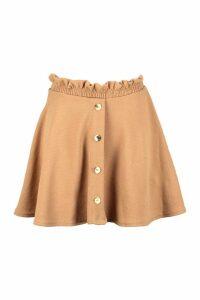 Womens Paperbag Waist Mock Horn Button Skater Skirt - beige - 6, Beige