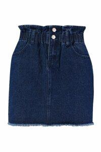 Womens Elastic Ruffle Waist Denim Mini Skirt - blue - 10, Blue