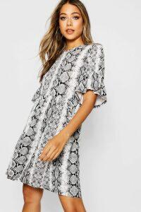 Womens Snake Print Ruffle Sleeve Smock Dress - grey - 16, Grey