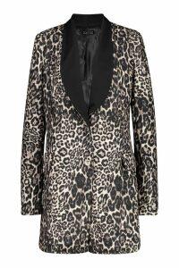 Womens Leopard Print Contrast Print Blazer Dress - brown - 10, Brown