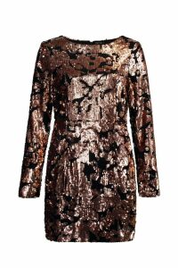 Womens Sequin Long Sleeve Bodycon Dress - pink - 10, Pink