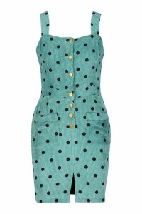Womens Polka Dot Corduroy Dungaree Dress - green - 12, Green