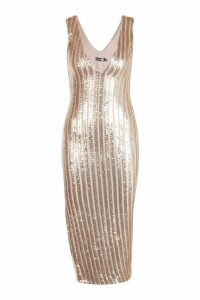 Womens Sequin Stripe Midi Dress with Bodysuit - metallics - 8, Metallics