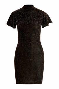 Womens Glitter High Neck Angel Sleeve Mini Dress - black - 14, Black