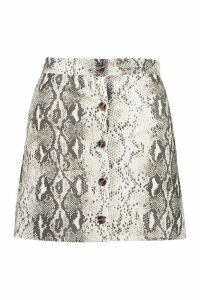 Womens Button Through Snake A Line Mini Skirt - beige - 14, Beige