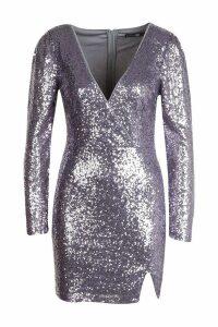 Womens Sequin Wrap Long Sleeve Bodycon Dress - purple - 6, Purple