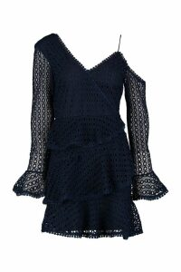 Womens Crochet Lace Ruffle Skater Dress - navy - 16, Navy