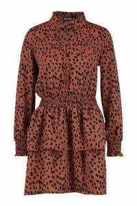 Womens Dalmatian Print High Neck Ruffle Skater Dress - brown - M, Brown