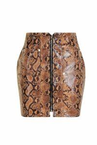 Womens Snakeskin PU Leather Look Zip Front Mini Skirt - brown - 12, Brown