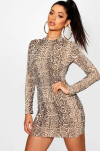 Womens Snake Print Roll Neck Mini Dress - beige - 16, Beige