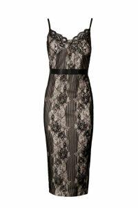 Womens Eyelash Lace Detail Midi Dress - black - 14, Black