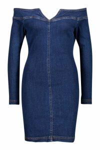 Womens Bodycon Off The Shoulder Stretch Denim Dress - blue - 16, Blue
