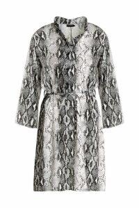 Womens Snake Print Tie Waist Shirt Dress - grey - 16, Grey