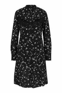 Womens Western Tassel Detail Floral Shirt Dress - black - S, Black